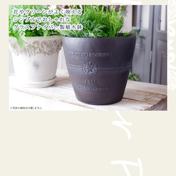 花やグリーンがよく映えるシンプルでおしゃれなグラスファイバー製植木鉢