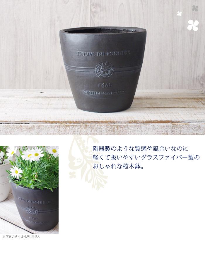 陶器製のような質感や風合いなのに、軽くて扱いやすいグラスファイバー製のおしゃれな植木鉢