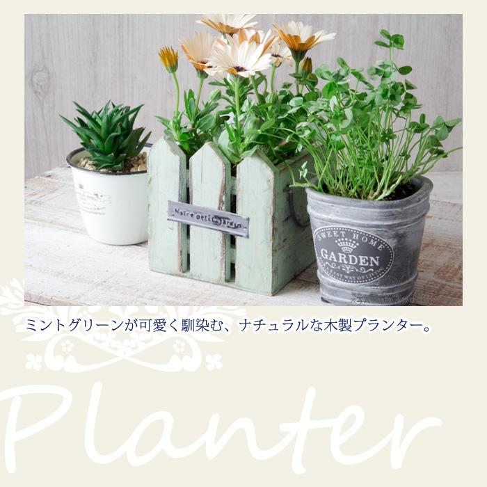 ミントグリーンが可愛く馴染む、ナチュラルな木製プランター