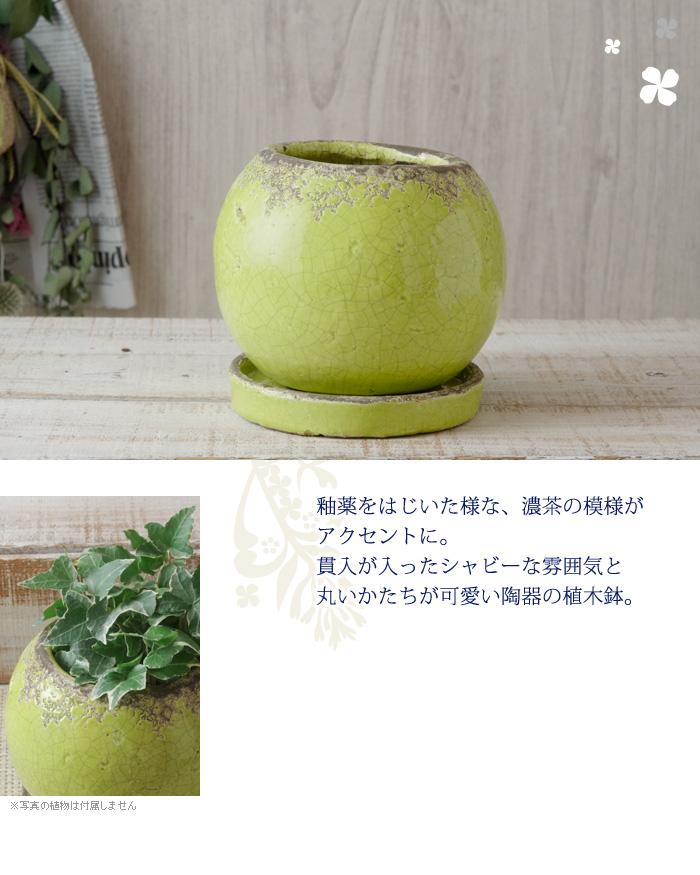釉薬をはじいた様な、濃茶の模様がアクセントに。貫入が入ったシャビーな雰囲気と丸いかたちが可愛い陶器の植木鉢。