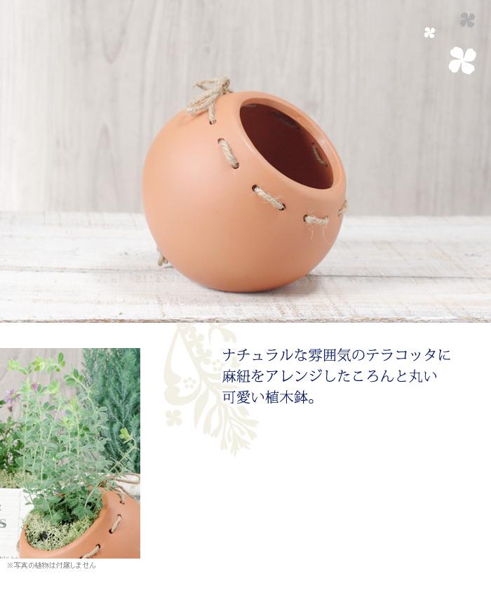 ナチュラルな雰囲気のテラコッタに麻紐をアレンジしたころんと丸い可愛い植木鉢