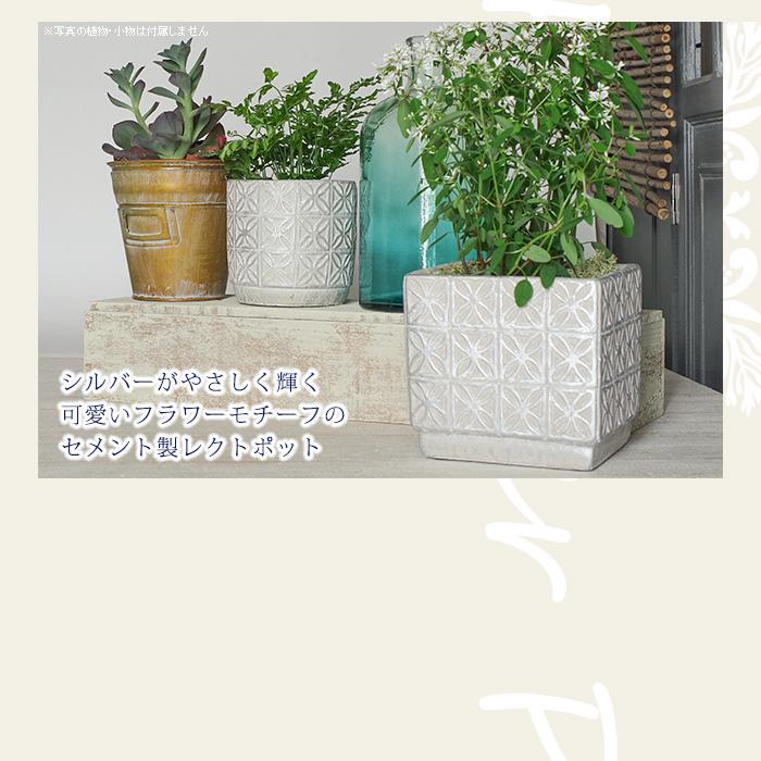 シルバーがやさしく輝く可愛いフラワーモチーフのセメント製レクトポットs