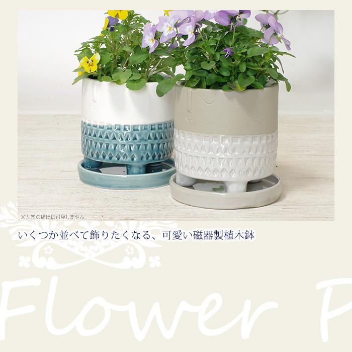 いくつか並べて飾りたくなる、可愛い磁器製植木鉢